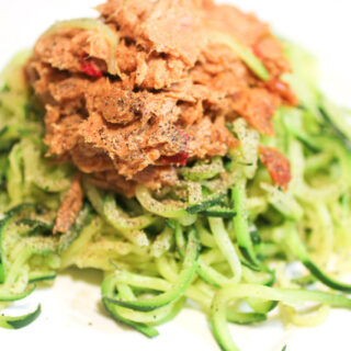 Zucchini Spiral Pasta with Tuna