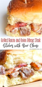 Grilled Bacon and Onion Ribeye Steak Sliders with Beer Cheese