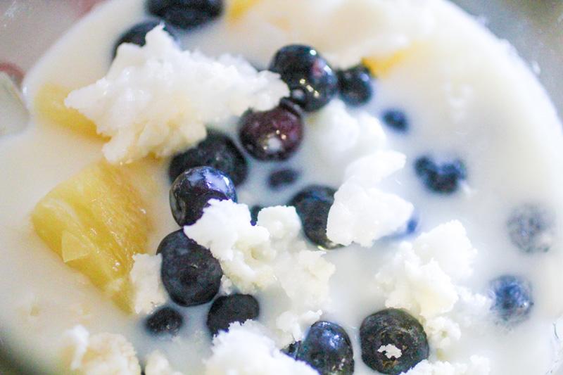 Blueberry Basil Banana Pina Colada Smoothie