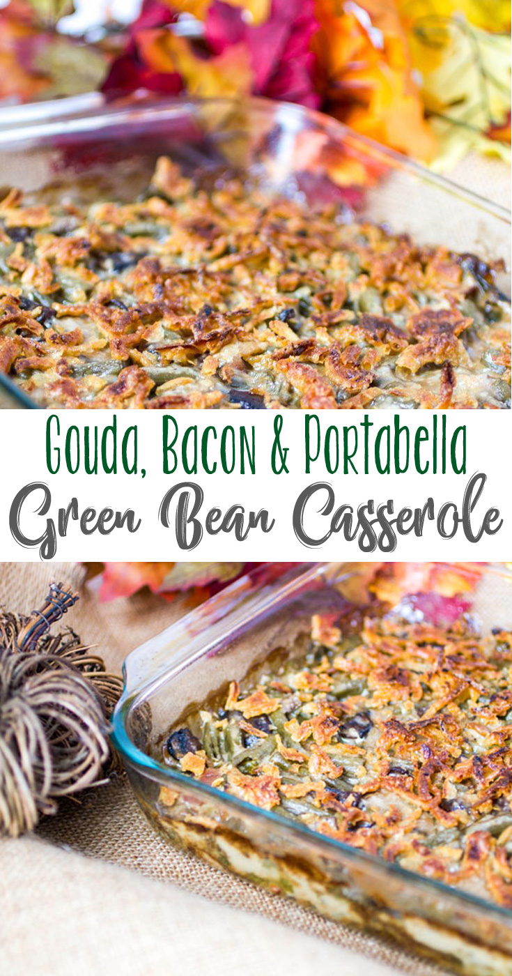 A different twist on Green Bean Casserole, this Gouda, Bacon and Portabella Casserole is cheesy, savory and delicious - it's our most requested Thanksgiving and potluck recipes dish!