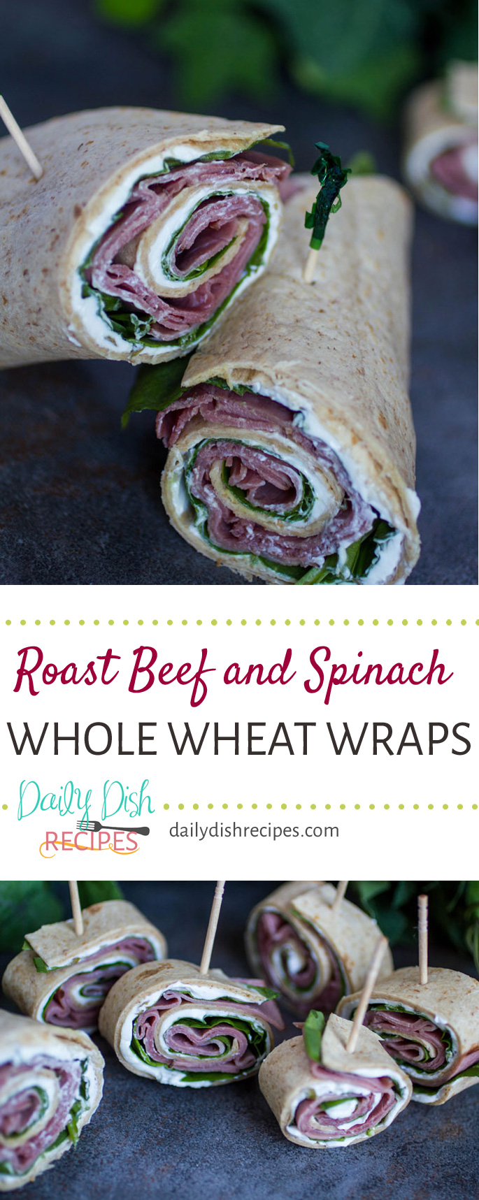 Need a quick and healthy lunch idea? These Roast Beef and Spinach Whole Wheat Wraps  are a huge hit at our house and I think they will be at yours too. Plus they are GREAT to take with you to work or slice into pinwheels as an appetizer for a party!