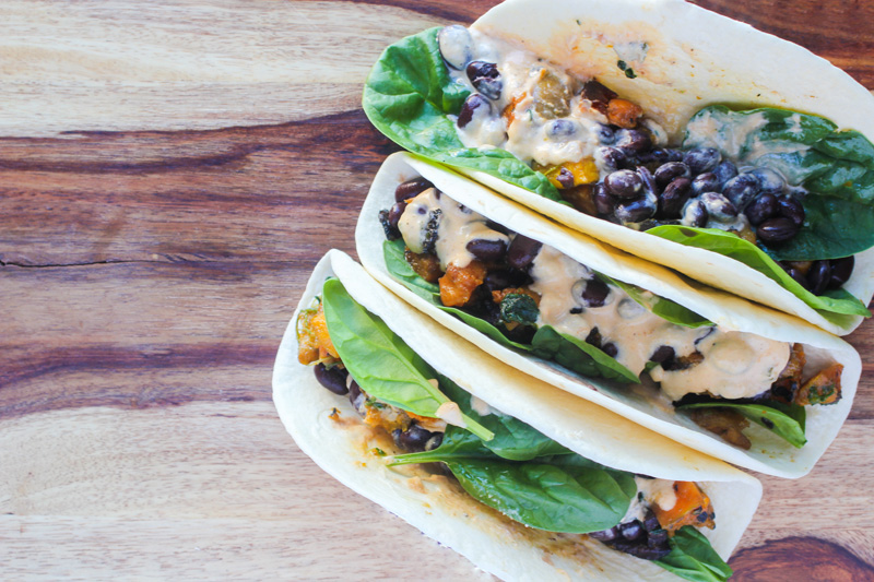 Butternut Squash Portobello Tacos with Garlic Sage Cream Sauce