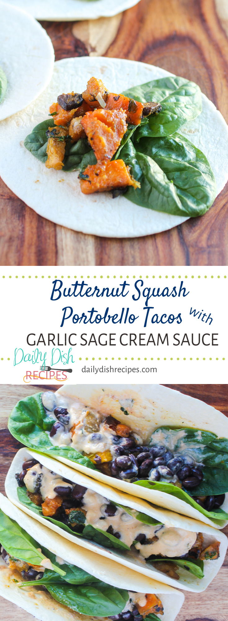 Butternut Squash Portobello Tacos with Garlic Sage Cream Sauce are the perfect easy date night recipe - savory and so full of flavor. Pairs great with Netflix and wine.