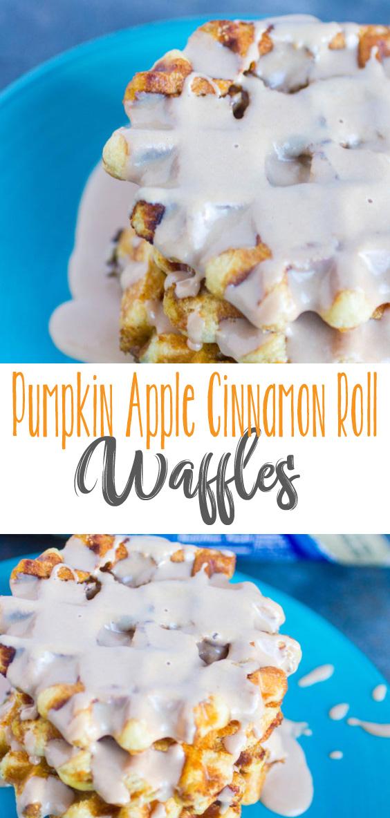 Pumpkin Apple Cinnamon Roll Waffles