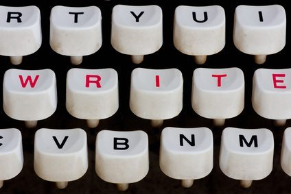 typewriter keyboard with write word