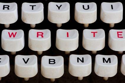 typewriter keyboard with write word