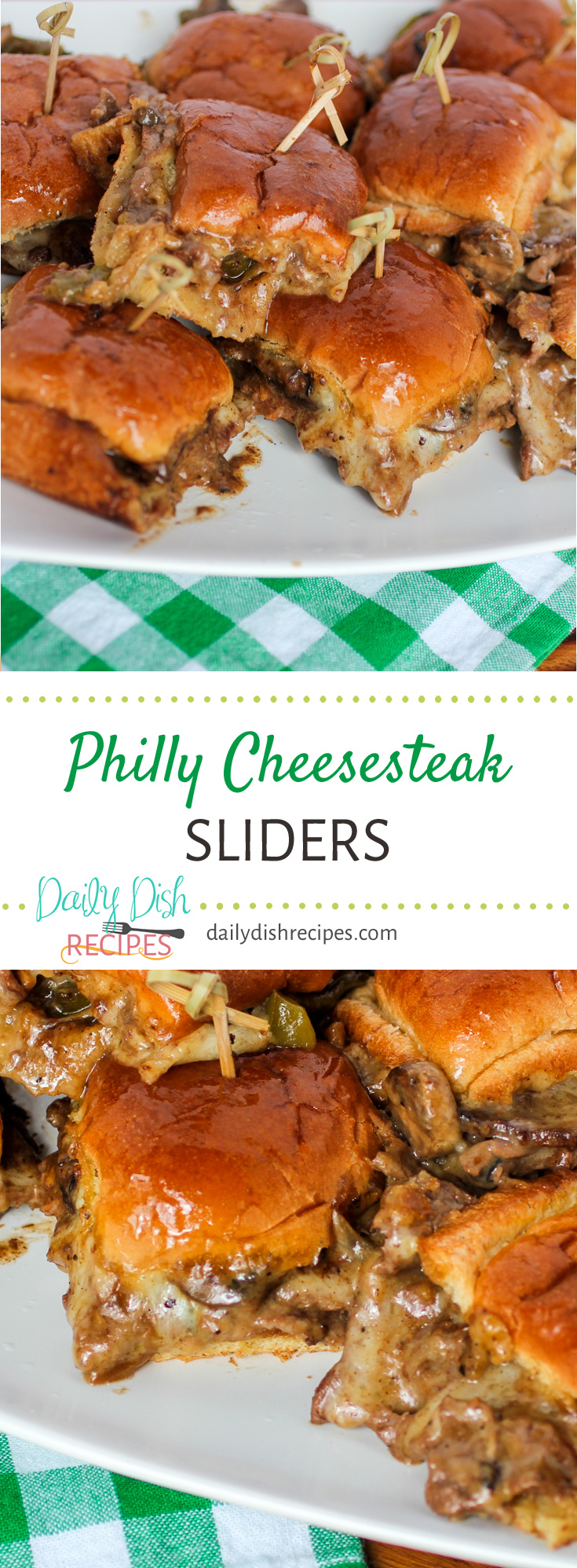 One of our absolute favorite gameday recipes! These Philly Cheesesteak Sliders are literally melt in your mouth magical bites of happiness. So much flavor, melted cheese. Perfect for ANY get together and seriously the perfect party food!