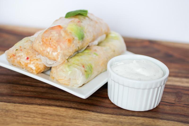 Shrimp Scampi Spring Rolls