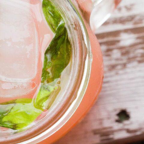 Coconut Rhubarb Basil Cocktail #atozchallenge