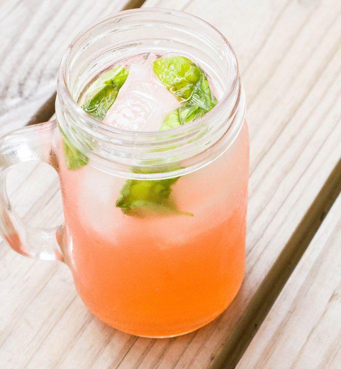 Coconut Rhubarb Basil Cocktail