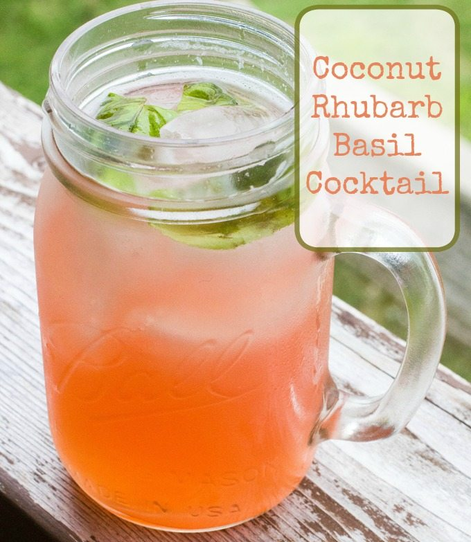 Coconut Rhubarb Basil Cocktail Hero