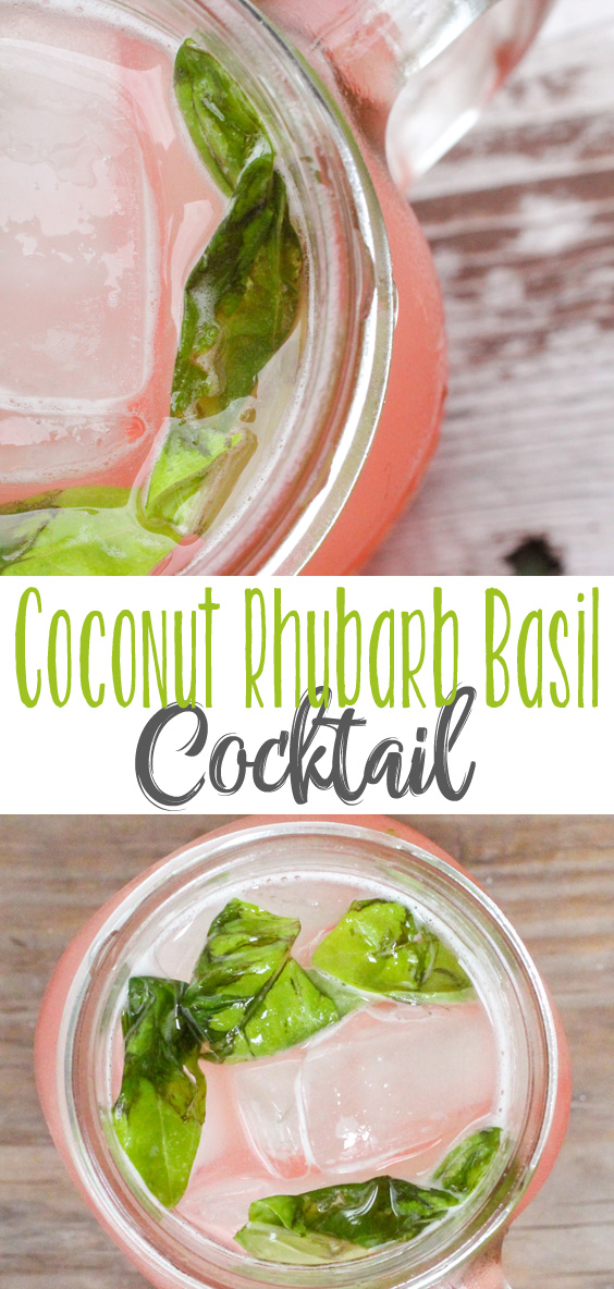 Refreshing rhubarb and sweet coconut and basil combine in this delicious Coconut Rhubarb Basil Cocktail for a special summer cocktail everyone will LOVE!  Great cocktail recipe to go with your favorite bbq recipes.