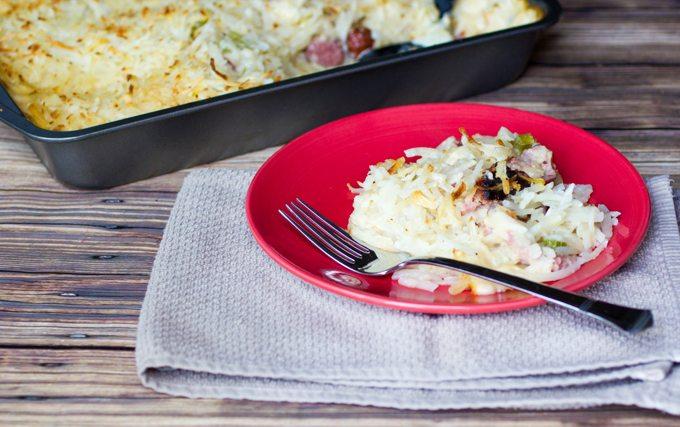 Kielbasa Sausage Hashbrown Dinner Casserole