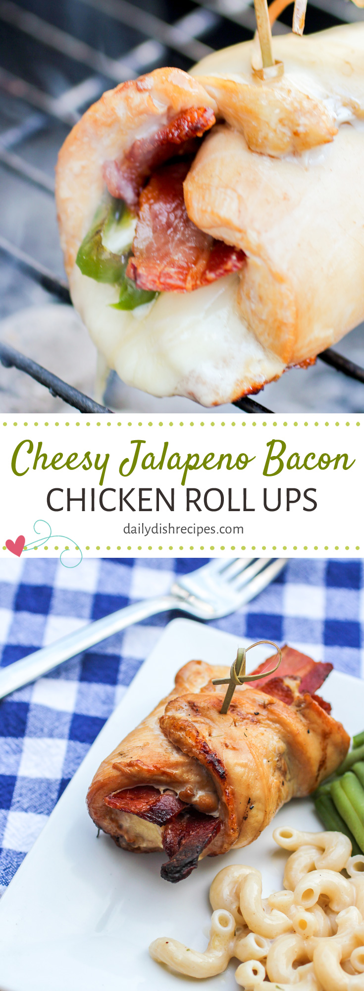 Looking for an easy dinner idea that tastes fantastic and that your whole family will love (pull the jalapenos for kiddos and those that don't like them). These Cheesy Jalapeno Bacon Chicken Roll Ups are INCREDIBLE. Dripping with melted cheese, crisp bacon and however much heat you want to pack into them with the Jalapenos, they are are a popular choice! Bake in the oven or throw on the grill for an easy weeknight dinner idea or serve to company at your next dinner party!