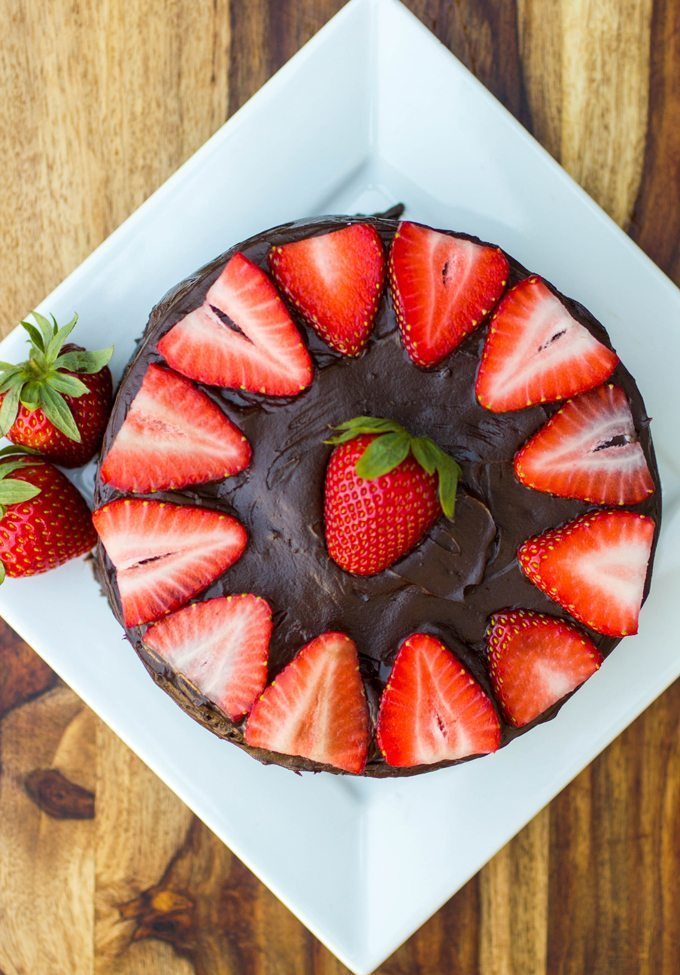 Mini Dark Chocolate Layer Cake with Dark Chocolate Ganache and Strawberries