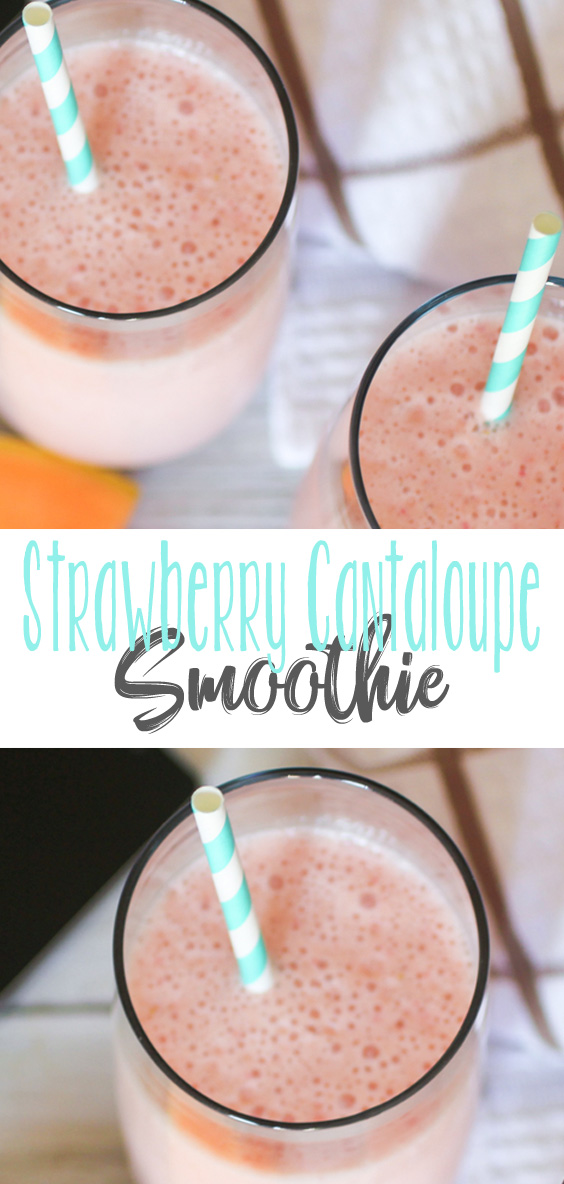These Strawberry Cantaloupe Smoothies are like sipping on summer in a class. Smoothies so sweet and full of great flavor, you'll want more!
