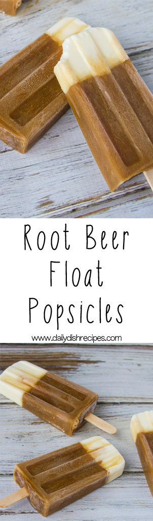 Creamy Root Beer Float Popsicles  taste just like the real deal and everyone loves them! Make up a batch today to ward off the heat or heck even when it's freezing out, still tastes great!