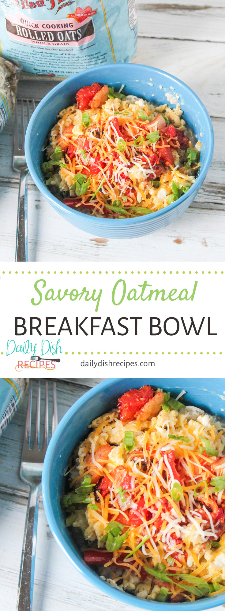 Loaded with tons of fresh and delicious ingredients, this Savory Oatmeal Breakfast Bowl proves that oatmeal isn't just for sweet things. Change and customize this breakfast bowl to be what you and your family love.