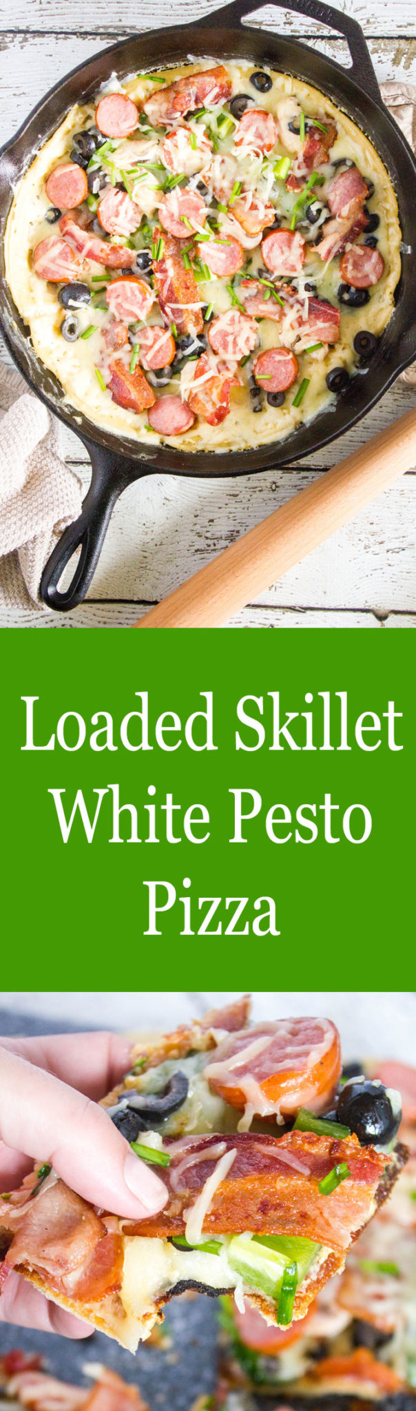 Loaded Skillet White Pesto Pizza #SundaySupper #SkilletMeals #SkilletDinner #SkilletPizza YUM! DELICIOUS!!