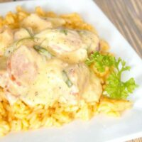 Sausage Shrimp and Veggies with Cheesy Rice