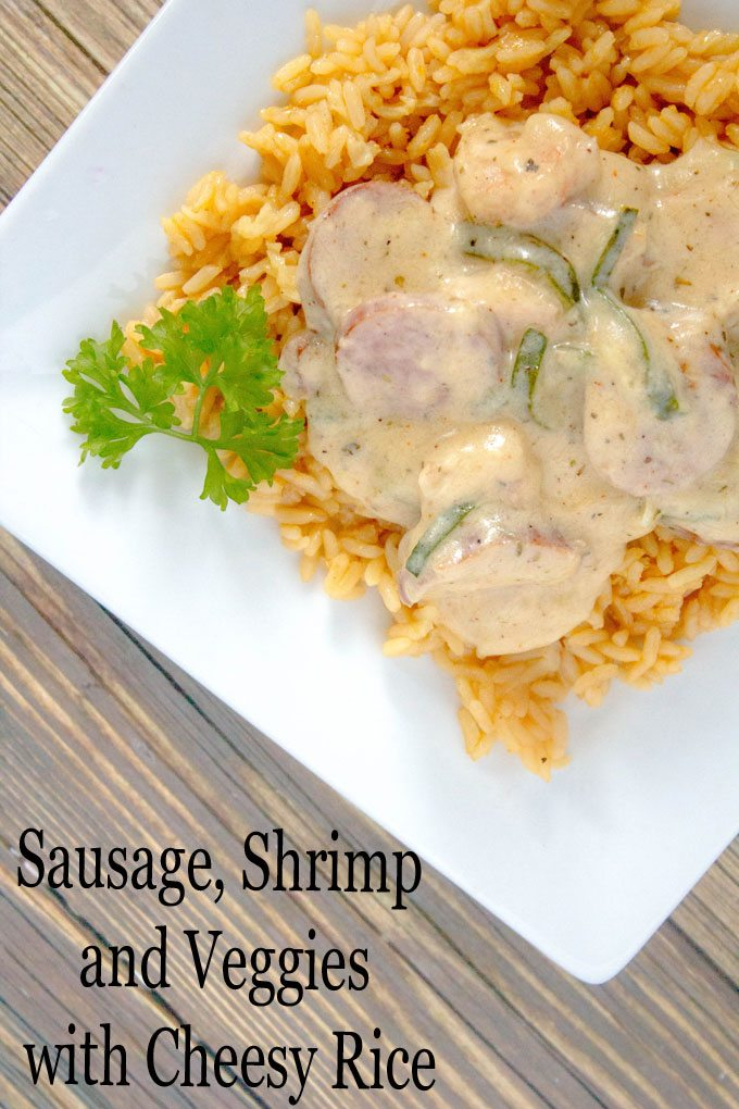 Sausage Shrimp and Veggies with Cheesy Rice @UncleBens
