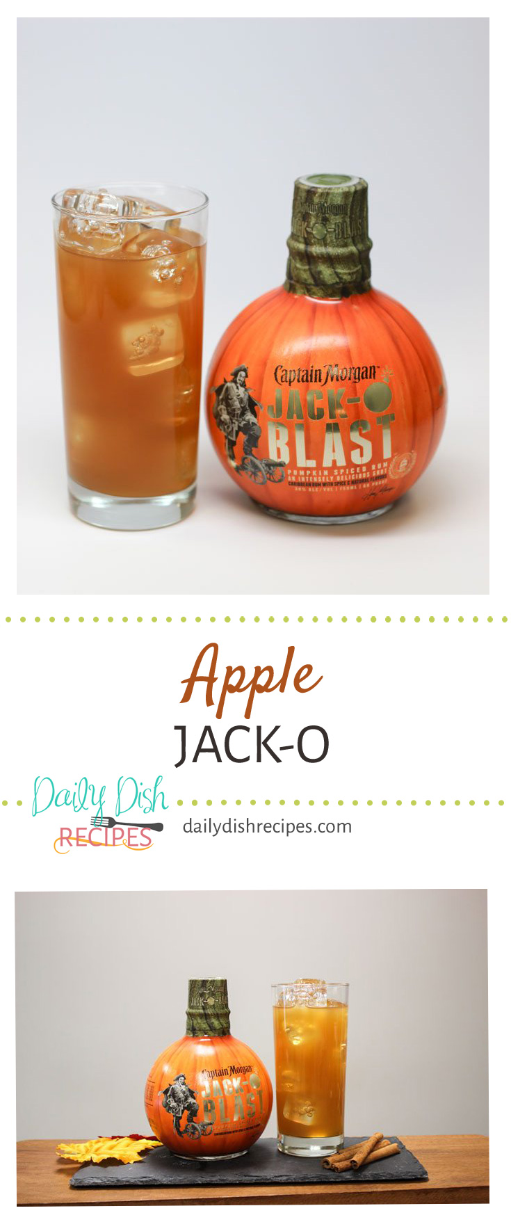 It's Apple. It's Pumpkin. It's Spiced. And it's the perfect Fall drink to unwind at the end of the day. Forget the wine, reach for a glass ofApple Jack-O. It is made with Captain Morgan's Limited Edition Jack-O'Blast and tastes oh, so good!