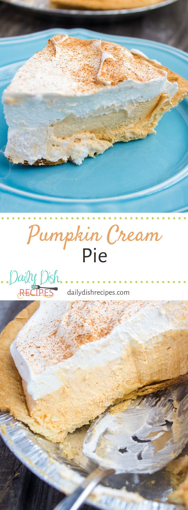 Creamy Pumpkin goodness in every single slice of this decadent Pumpkin Cream Pie. Our favorite Fall pie! So much Pumpkin flavor and SO delicious!