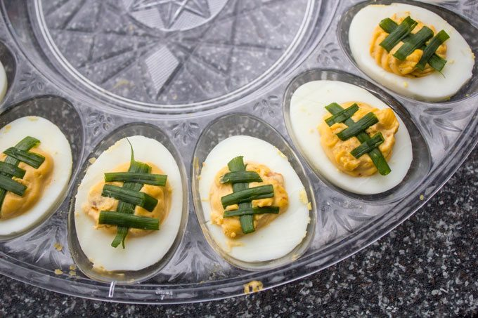 Chipotle Bacon Jalapeno Deviled Eggs for the Big Game