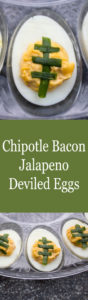 Spicy, creamy Chipotle Bacon Jalapeno Deviled Eggs are a fantastic appetizer for any get together, or make them up to look like little footballs and they are are a great choice for gameday!