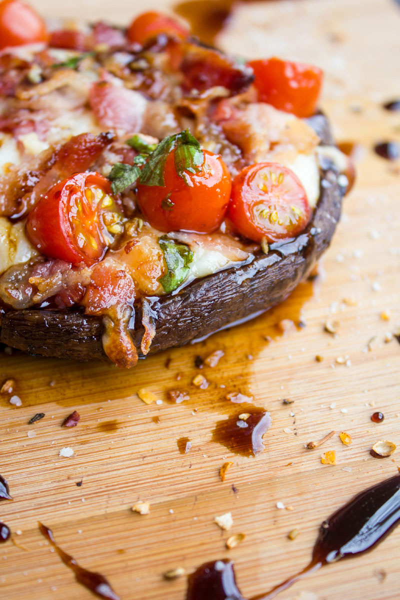 Bacon Caprese Stuffed Portobello Mushrooms