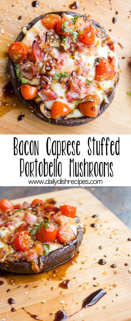 Start the New Year out right with a healthier lunch or dinner option. These Bacon Caprese Stuffed Portobello Mushrooms are absolutely delicious, and you can make them for #meatlessmonday by omitting the bacon and they will still taste fabulous!