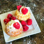 Old Fashioned Hot Milk Cake with Raspberries and Whipped Cream