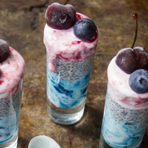 Blueberry Cherry Chia Pudding Parfaits