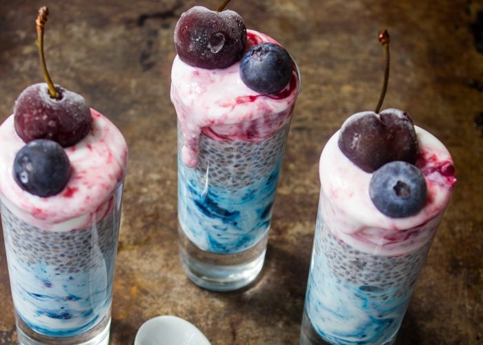 Blueberry Cherry Chia Pudding Parfaits