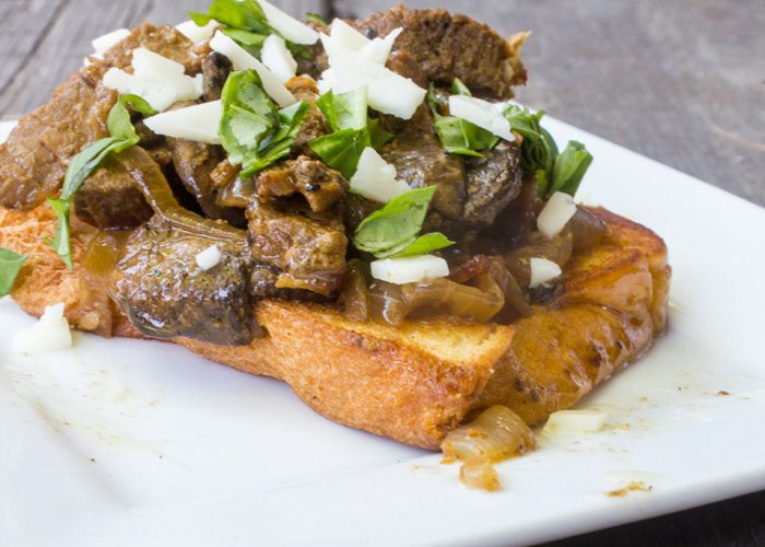 Open Faced Steak Sandwich