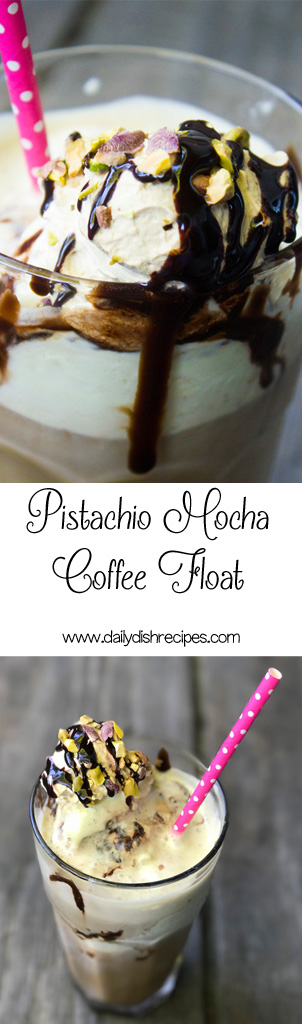 A decadent, indulgent iced coffee drink packed with pistachio ice cream, mocha hot fudge sauce, and a creamy coffee whipped cream. Pistachio Mocha Coffee Floats are truly caffeinated bliss! #BrewAsYouPlease #ad