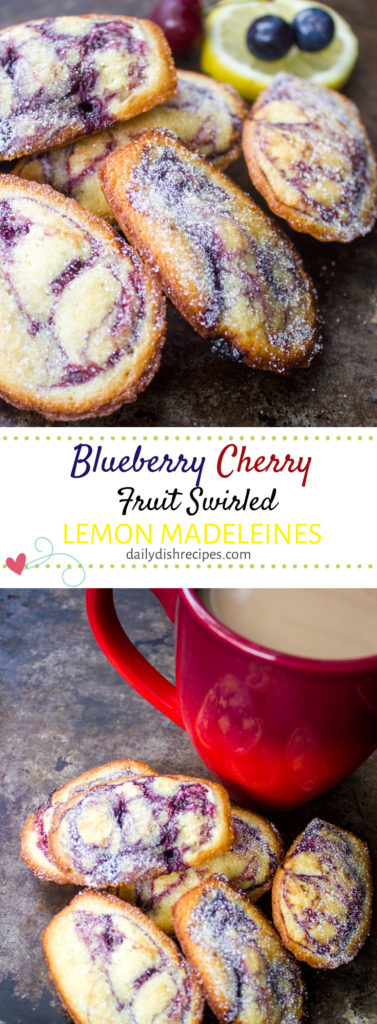 Blueberry Cherry Fruit Swirled Lemon Madeleines