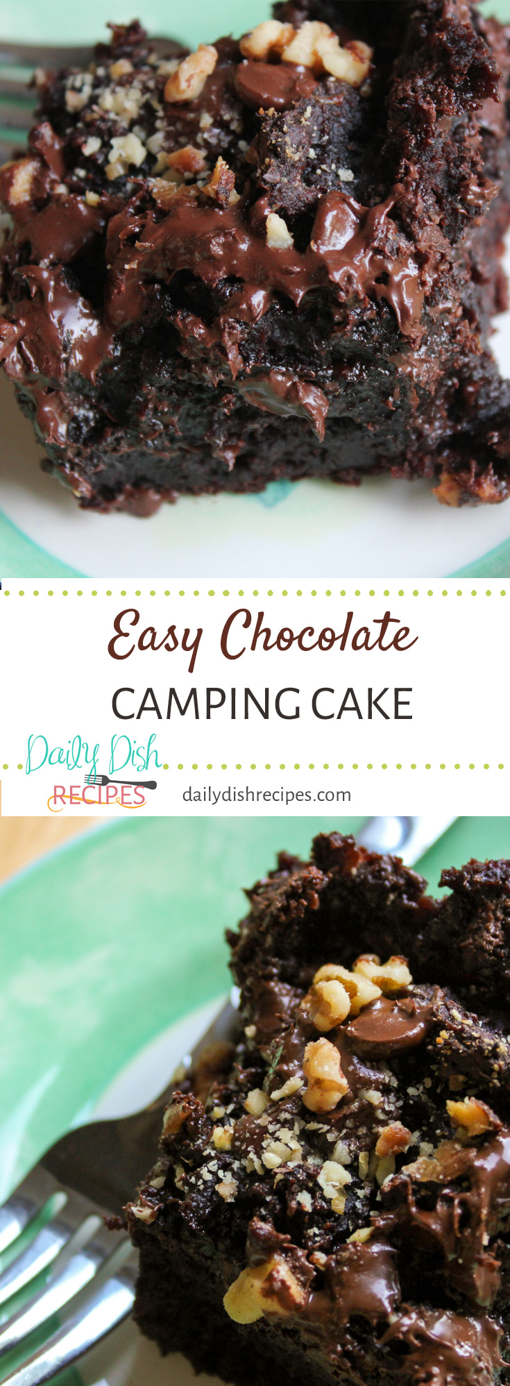 This Easy Chocolate Camping Cake is delicious and ridiculously simple to make. Whip one up today and dig your fork into a wonderfully moist, chocolaty cake in under 45 minutes!