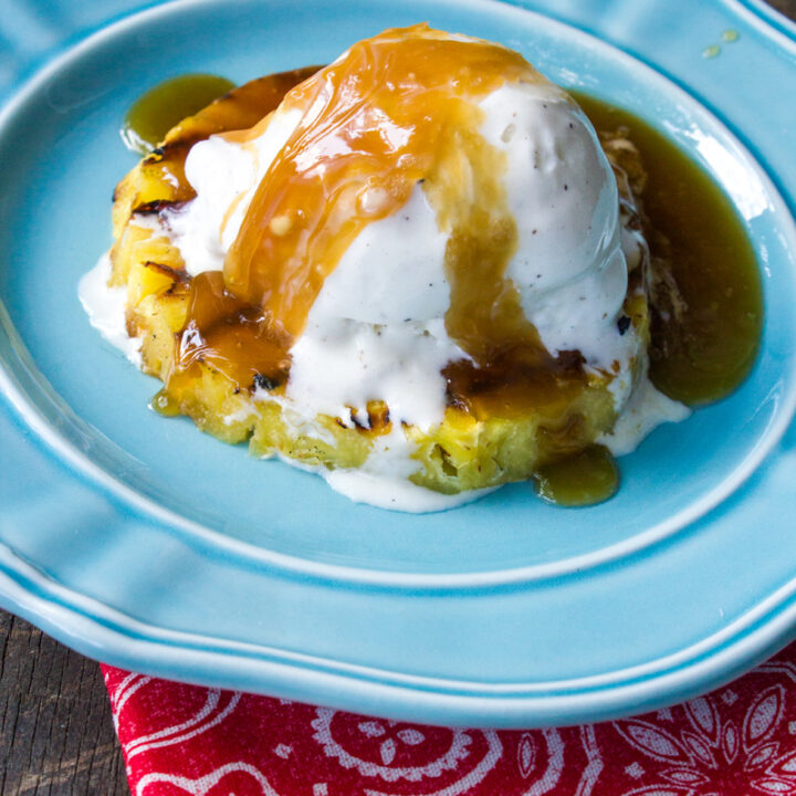 Grilled Pineapple Ring Rum Sundae