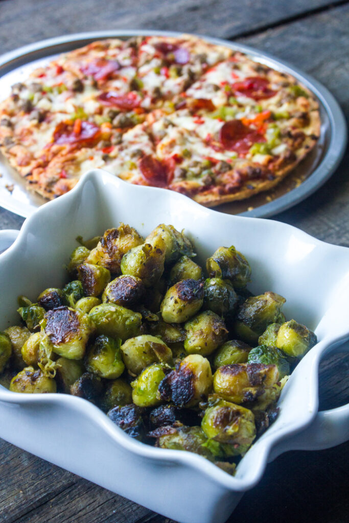 Italian Seasoned Pan Roasted Garlic Brussels Sprouts