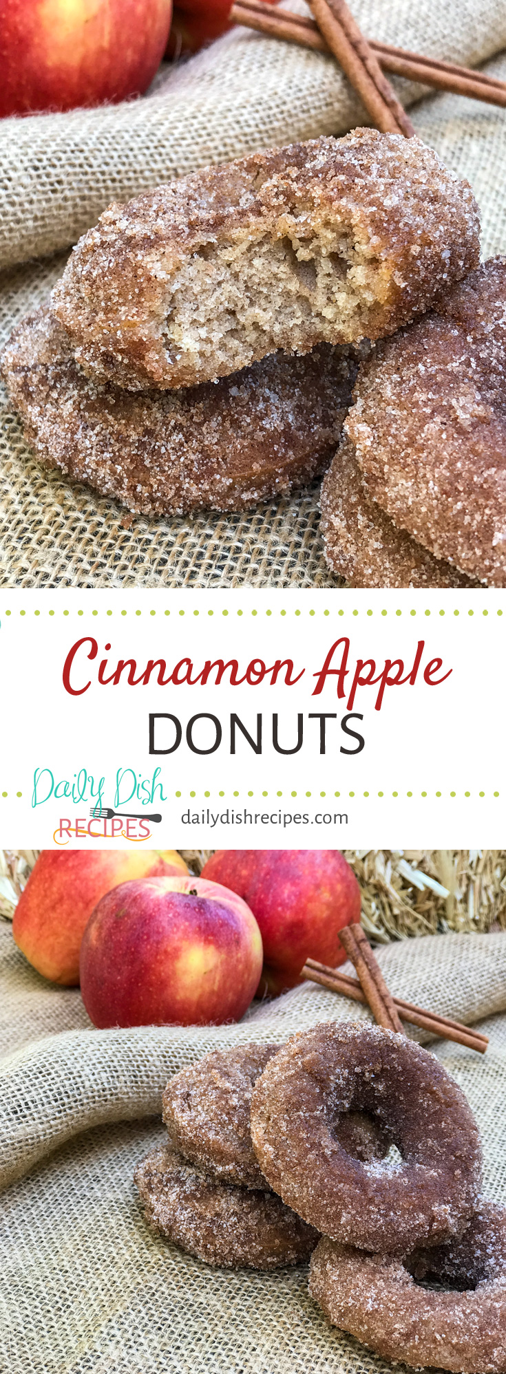 Cinnamon Apple Donuts are like fall in every bite. Moist, Soft with the perfect crumb. If you're a donut lover like me, you'll love these donuts! #appleweek