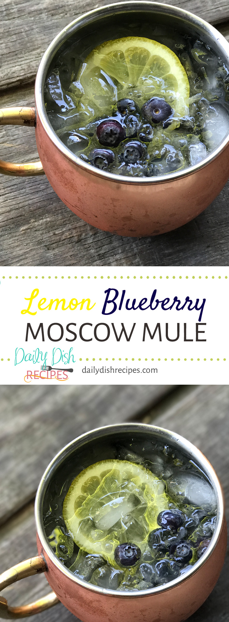 A refreshing twist on the classic cocktail, this non-traditional Lemon Blueberry Moscow Mule is delicious and a really great way to cool off on a hot day! A favorite cocktail recipe for sure!