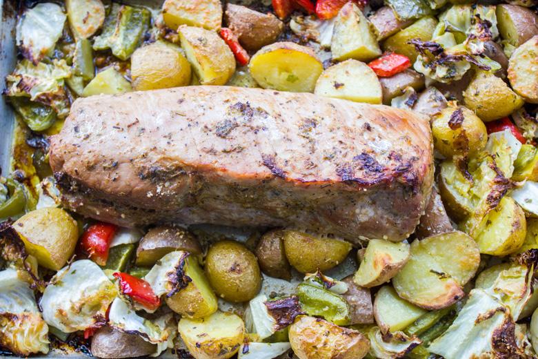 Sheet Pan Dinner - Garlic Herb Pork Roast and Veggies