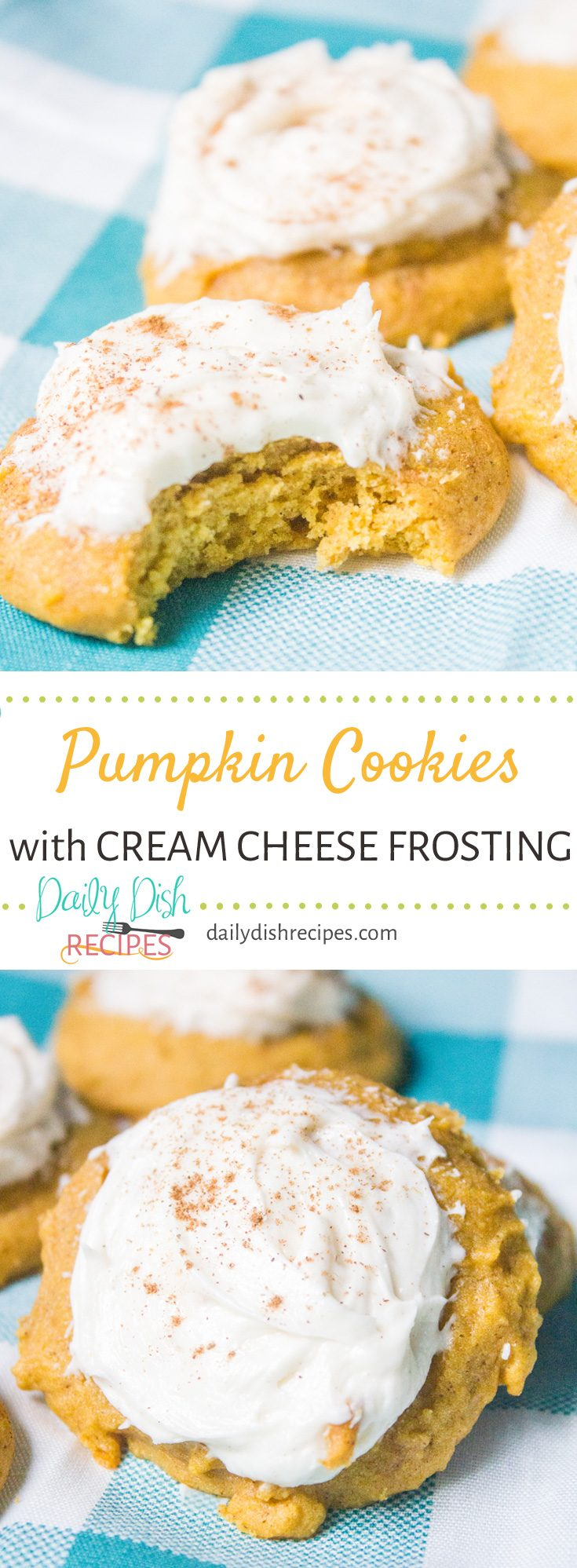 Moist, delicious Pumpkin cookies with cream cheese frosting are the perfect cookie for your fall table. Everyone loves these and they go fast so make plenty!