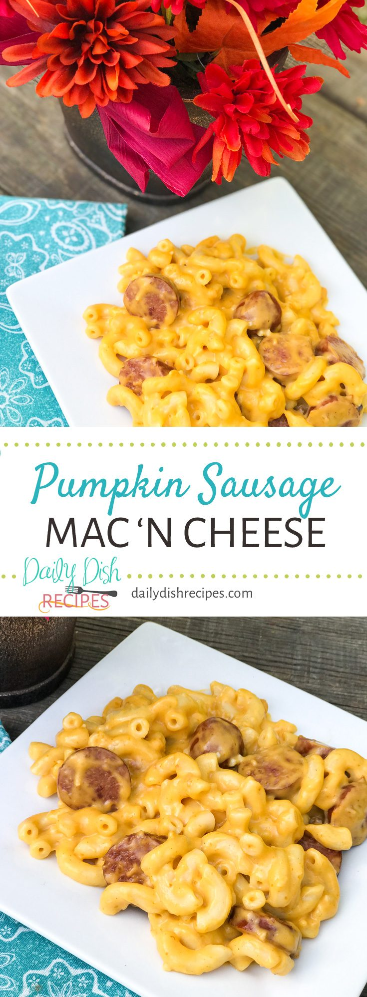 Cheesy, creamy Pumpkin Sausage Mac and Cheese has the smooth, flavorful addition of pumpkin, combined with the savory cheesy flavor of a traditional Mac and Cheese with savory sausage slices.