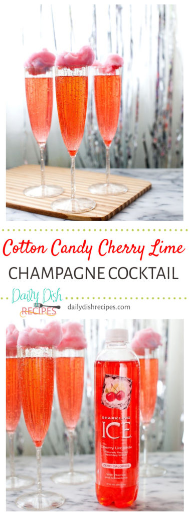 Cotton Candy Cherry Lime Champagne Cocktail