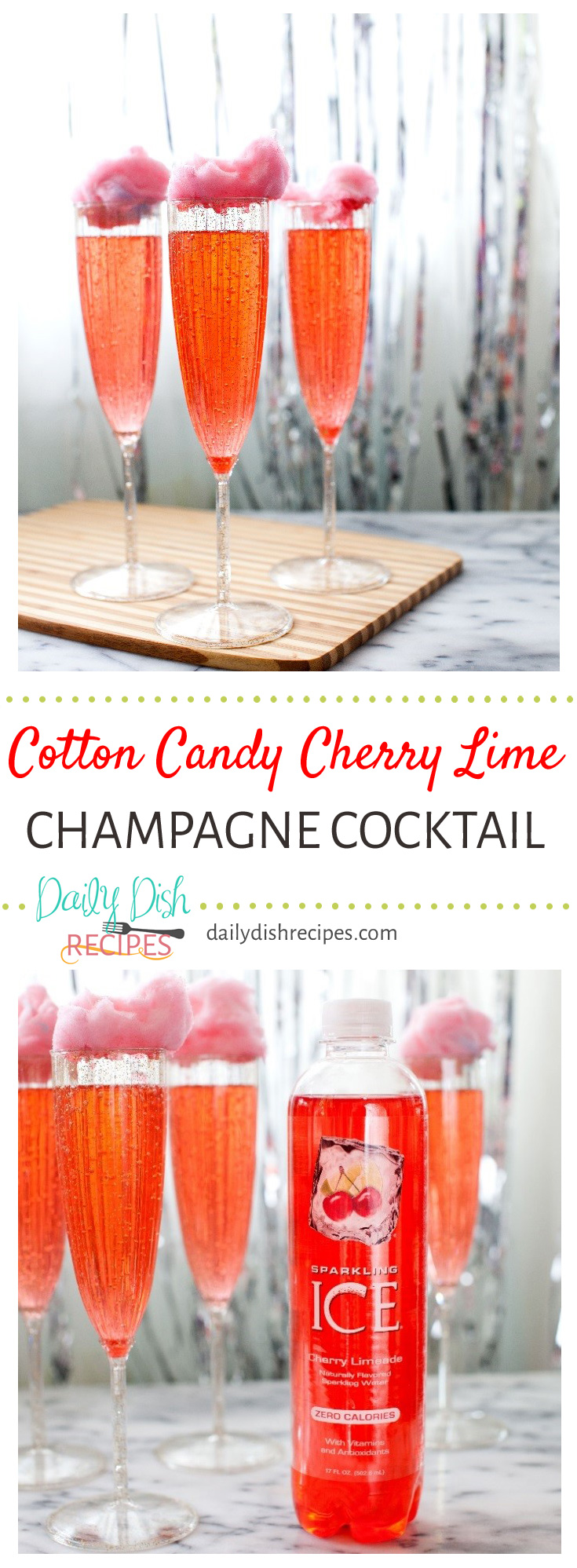 This Cotton Candy Cherry Lime Champagne Cocktail is the perfecct addition to your New Year's Eve party or gathering! Easy but so fun and festive!