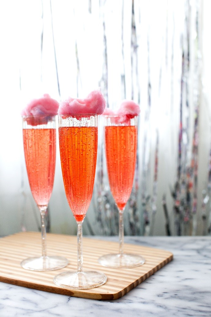 15 Summer Cocktails To Beat the Heat - Cotton Candy Cherry Lime Champagne Cocktail