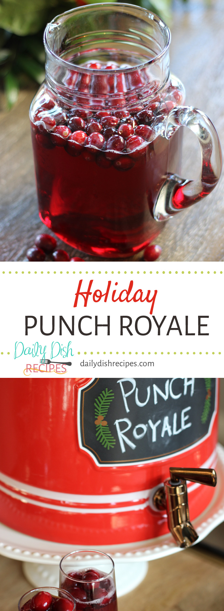 Holiday Punch Royale is a festive punch perfect for any winter occasion. A little sweet, a little tart and served with fresh cranberries and a little bubbly champagne and your guests will be coming back for more!