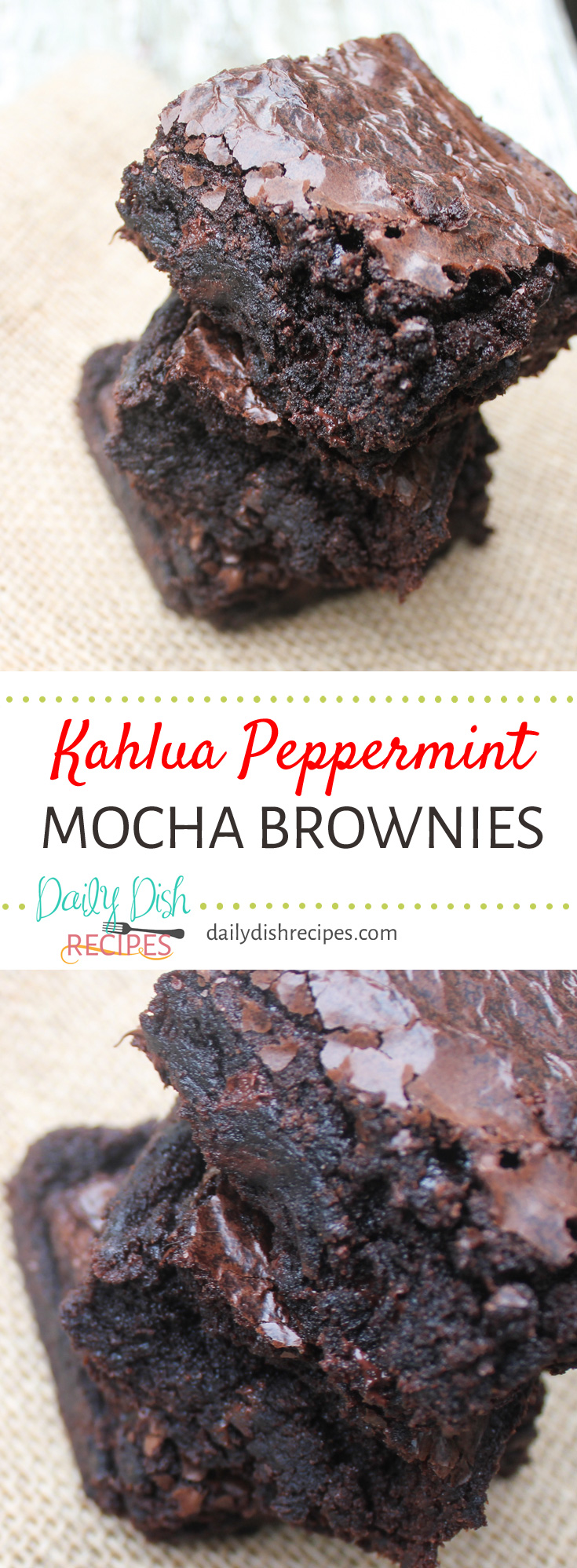 Soft, moist, chocolaty Kahlua Peppermint Mocha Brownies are the perfect treat on a cold winter night when you're wanting a cozy recipe!
